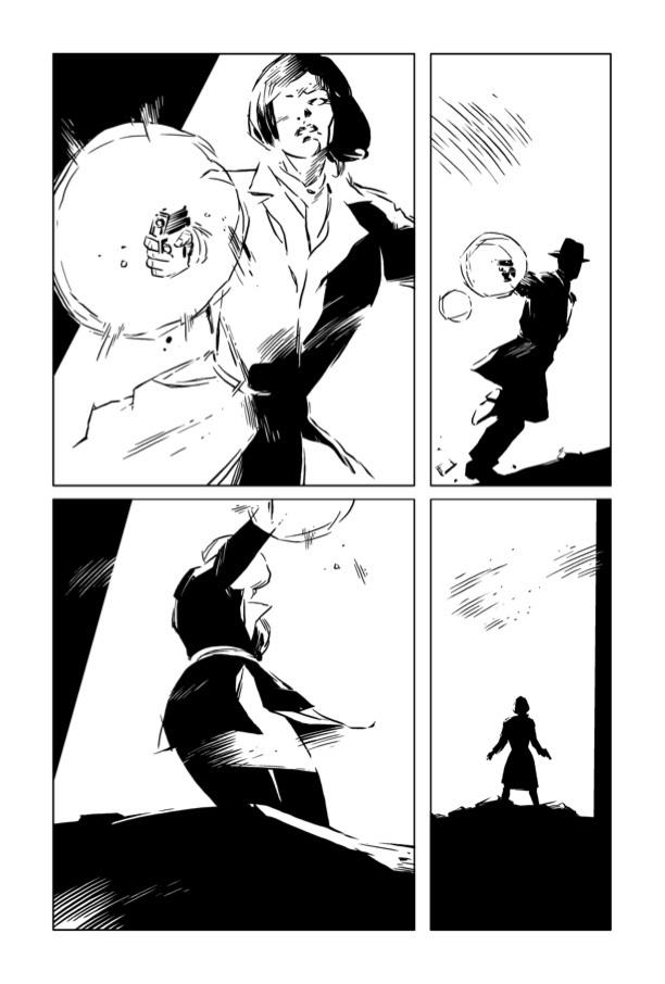 Uma página inteira de A Cidade Mais Fria, ou The Coldest City, graphic novel de Antony Johnston e ilustrada por Sam Hart. A cena mostra Lorraine Broughton, a protagonista, atirando contra um homem misterioso.