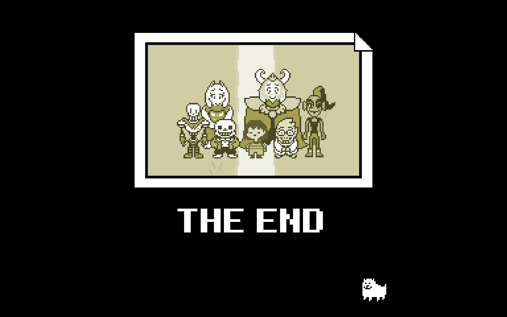 """Imagem do jogo indie Undertale, que mostra uma foto com Asgore, Undyne, Toriel, Sans, Alphys, Papyrus e Frisk. Abaixo da foto, é possível ler os dizeres """"The end"""". Abaxo disso está Annoying Dog, personagem inspirado em Toby Fox."""