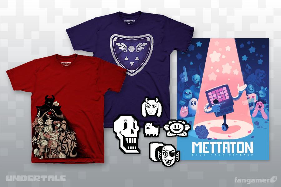 Foto do merchandise oficial de Undertale, jogo de Toby Fox, com camisas, um pôster e adesivos.
