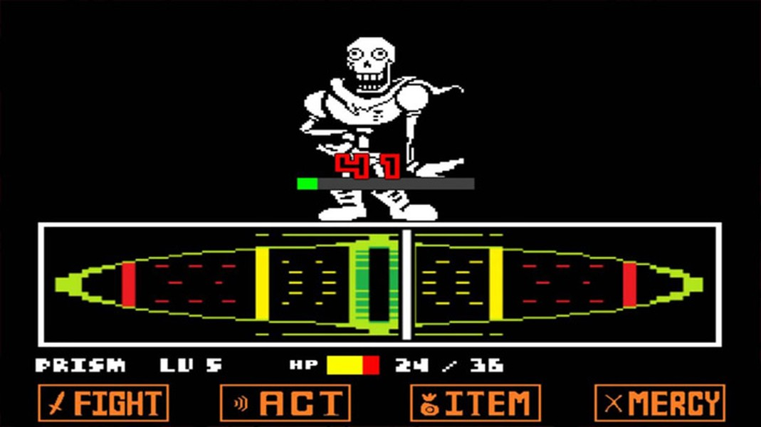 Imagem do jogo Undertale, de Toby Fox, que mostra a batalha contra Papyrus e demonstra a técnica de ataque.