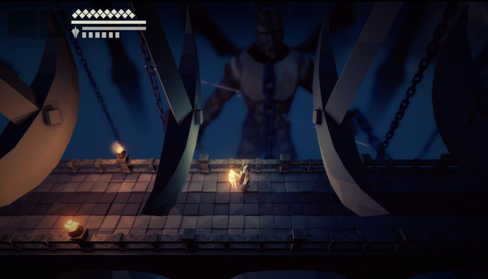 Imagem conceitual do jogo indie italiano Fall of Light, do estúdio RuneHeads. O jogo é inspirado em Dark Souls e Ico. Nyx e Aether cruzam um corredor com lâminas em pêndulo caindo do teto.