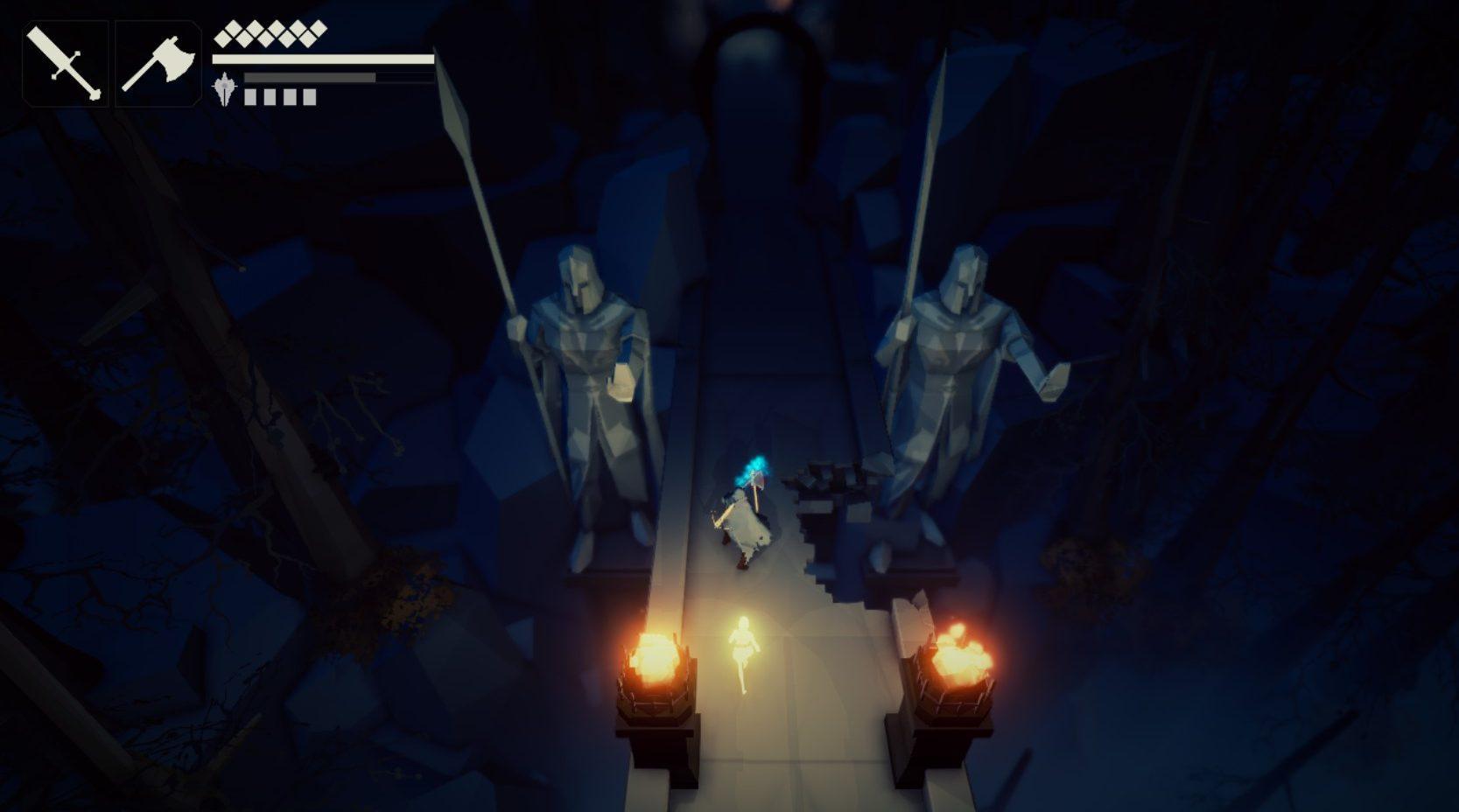 Imagem conceitual do jogo indie italiano Fall of Light, do estúdio RuneHeads. O jogo é inspirado em Dark Souls e Ico. Nyx e Aether cruzam uma ponte de pedra, margeada por duas imensas estátuas.