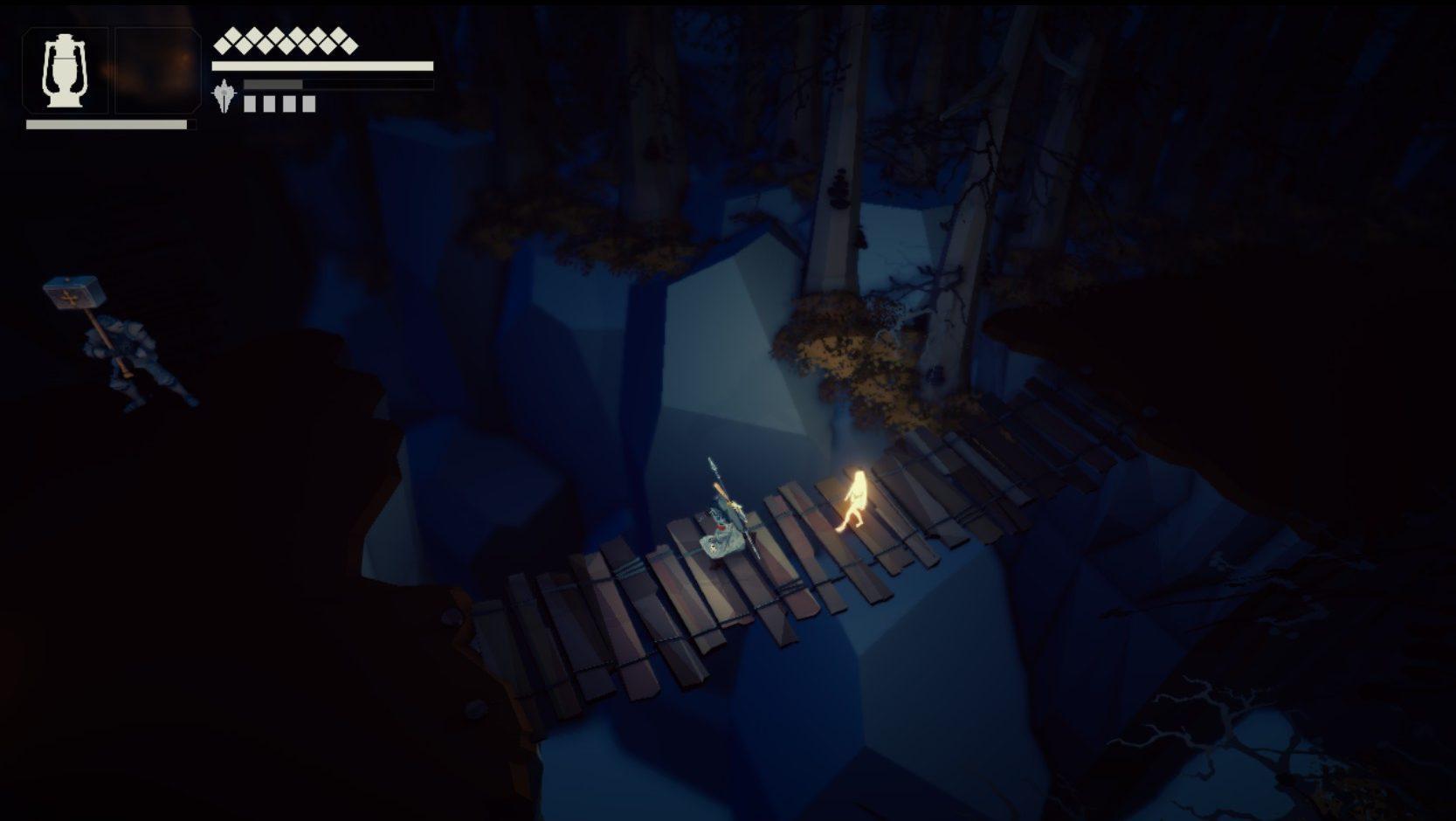 Imagem conceitual do jogo indie italiano Fall of Light, do estúdio RuneHeads. O jogo é inspirado em Dark Souls e Ico. Nyx e Aether cruzam uma ponte de madeira, com uma lanterna em mãos.