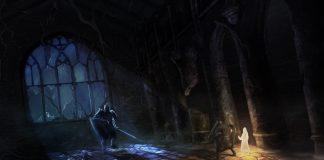 Imagem conceitual do jogo indie italiano Fall of Light, do estúdio RuneHeads. O jogo é inspirado em Dark Souls e Ico. A imagem mostra um cavaleiro protegendo uma criança de frente para um imenso inimigo de armadura.