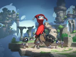 Ilustração de Hob, novo jogo da Runic Games. A imagem mostra a personagem principal, com sua túnica vermelha e um braço robótico.