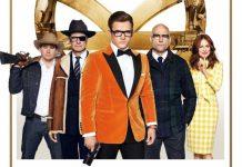 o pôster de Kingsman 2 mostra os atores do filme olhando para a câmera diante da logo dourada da equipe