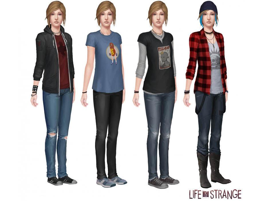 Imagem de divulgação do jogo Life is Strange, Before the Storm, que mostra a personagem Chloe quatro vezes, com quatro combinações diferentes de roupa.