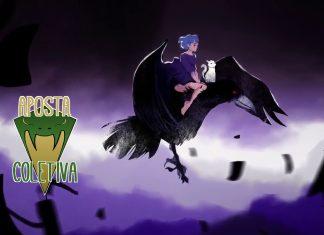 Imagem da edição da coluna Aposta Coletiva dedicada ao jogo Lona: Realm of Colors. No canto superior esquerdo, a logo do jogo, no canto inferior esquerdo, a logo da coluna. A imagem ao fundo mostra a protagonista montando em um corvo, em meio a um céu violeta.