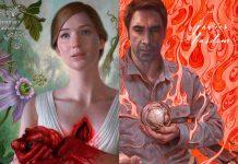 Caratzes de Mãe!, ou Mother!. À esquerda, Jennifer Lawrence segura seu próprio coração, enquanto o fundo está coberto de flores e plantas. E à direita Javier Bardem segura um globo, enquanto o fundo está envolto de fogo.