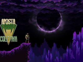 Imagem da edição da coluna Aposta Coletiva dedicada ao jogo indie brasileiri The Crown Stones: Mirrah. No lado esquerdo, a logo do Aposta Coletiva. A imagem ao fundo mostra o protagonista no topo de uma montanha, em meio a um céu violeta.