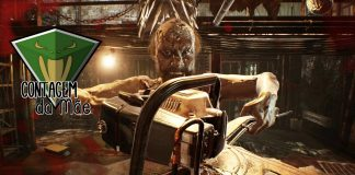 Imagem oficial da edição da Contagem da Mãe sobre jogos de horror para sexta-feira 13. A imagem mostra Jack Baker, do jogo Resident Evil 7, com a logo da Contagem da Mãe. Mês das Bruxas.