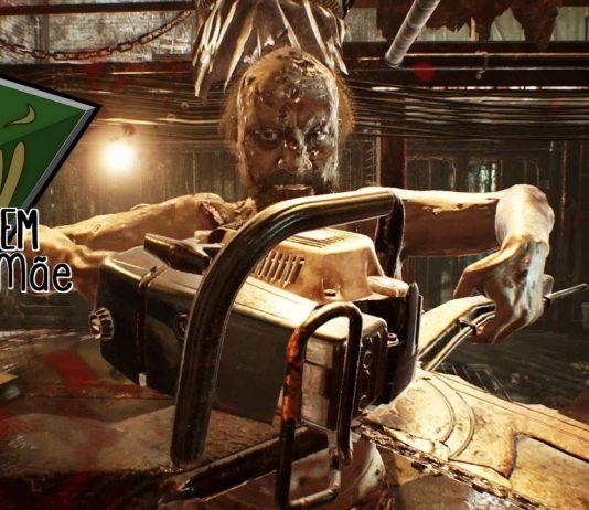 Imagem oficial da edição da Contagem da Mãe sobre jogos de horror para sexta-feira 13. A imagem mostra Jack Baker, do jogo Resident Evil 7, com a logo da Contagem da Mãe.