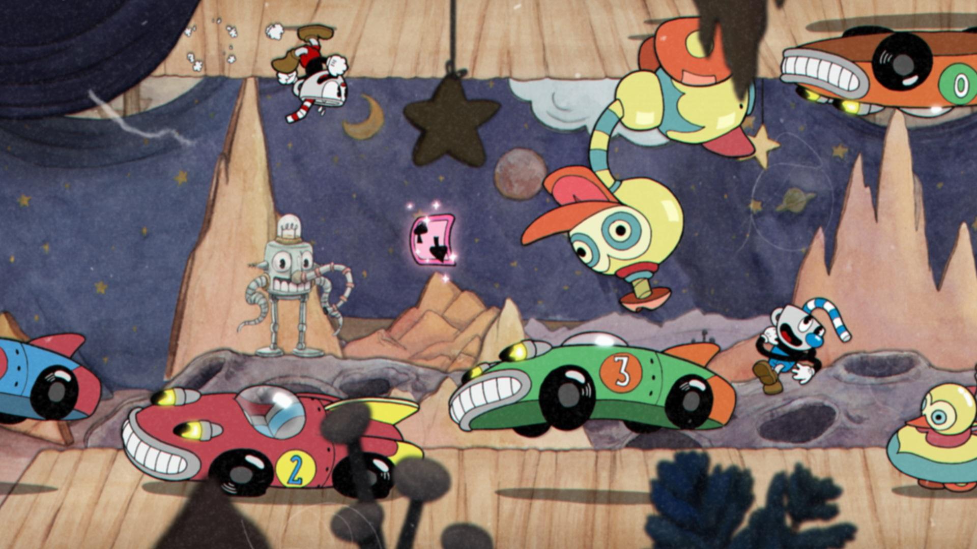 Imagem do jogo Cuphead: Don't Deal with the Devil, que mostra uma fase cheia de carros que andam no teto. O jogo é inspirado em desenhos animados das décadas de 20 e 30.