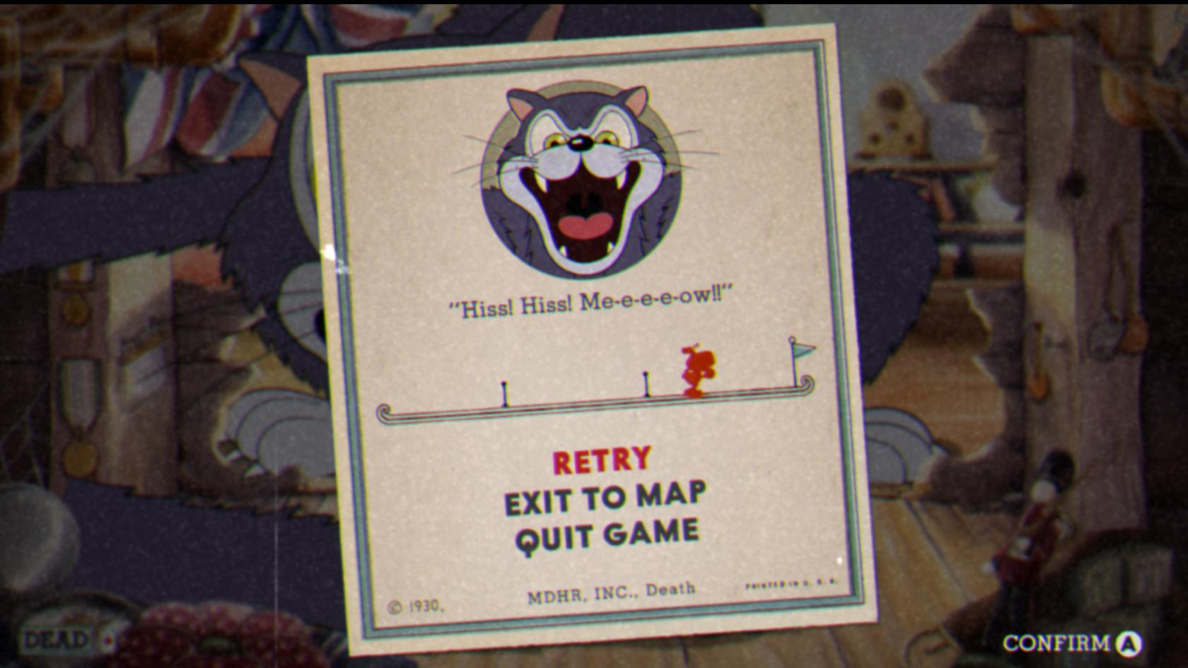 Imagem do jogo Cuphead: Don't Deal with the Devil, que mostra a tela de game over. O jogo é inspirado em desenhos animados das décadas de 20 e 30.