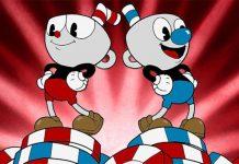 Ilustração do jogo indie Cuphead, que usa uma estética de desenhos animados antigos para cria um jogo Run and Gun. A ilustração mostra os dois protagonistas: Cuphead e Mugman.