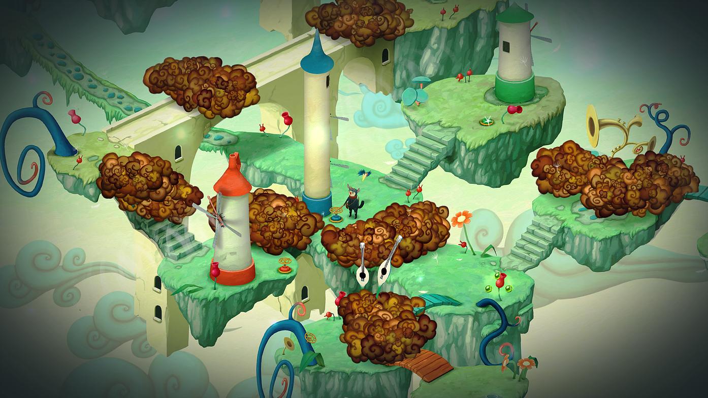 Imagem do jogo Figment, terceiro jogo indie da Bedtime Digital Games. Caminhos diversos são bloqueados por fumaça tóxica, e moinhos de vento estão espalhados pela imagem.