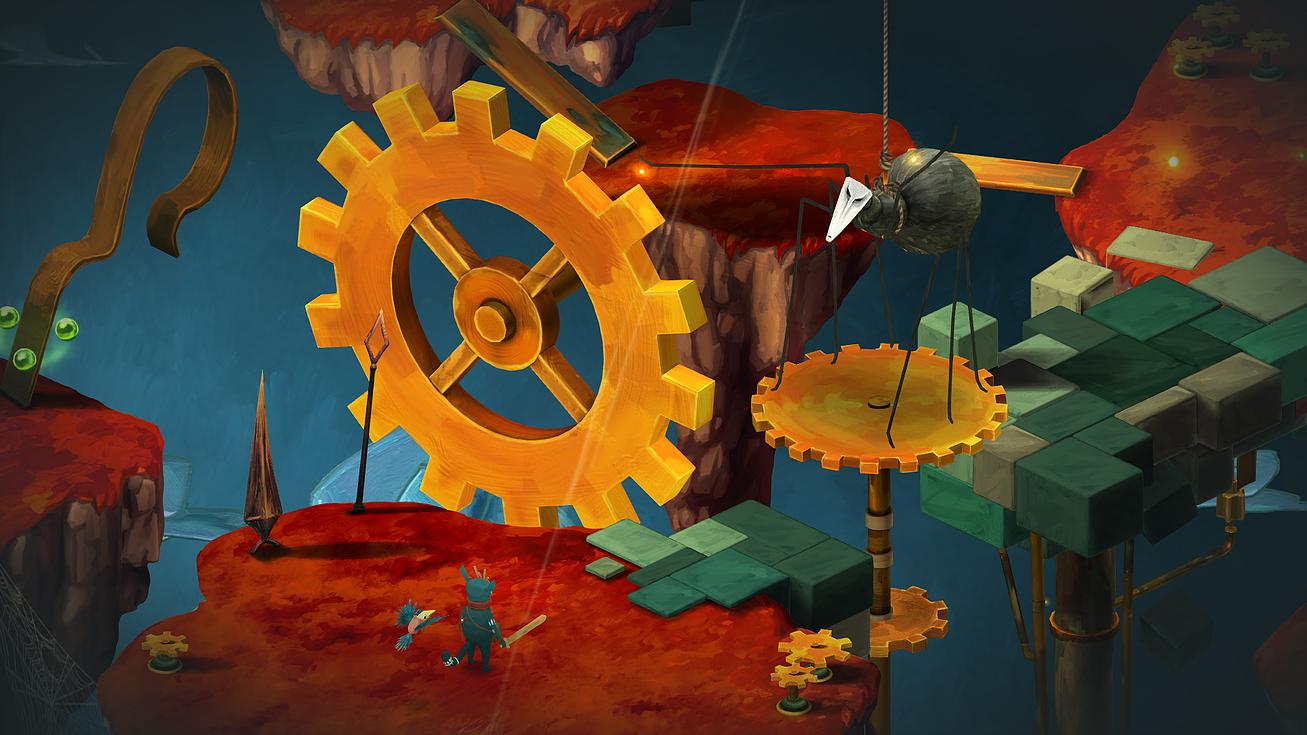 Imagem do jogo Figment, terceiro jogo indie da Bedtime Digital Games. A imagem mostra o pesadelo Aranha no lado lógico da mente.