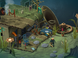 Imagem do jogo Figment, terceiro jogo indie da Bedtime Digital Games. Dusty e Piper, protagonistas do jogo, estão na frente de uma casa bagunçada dentro da ente.