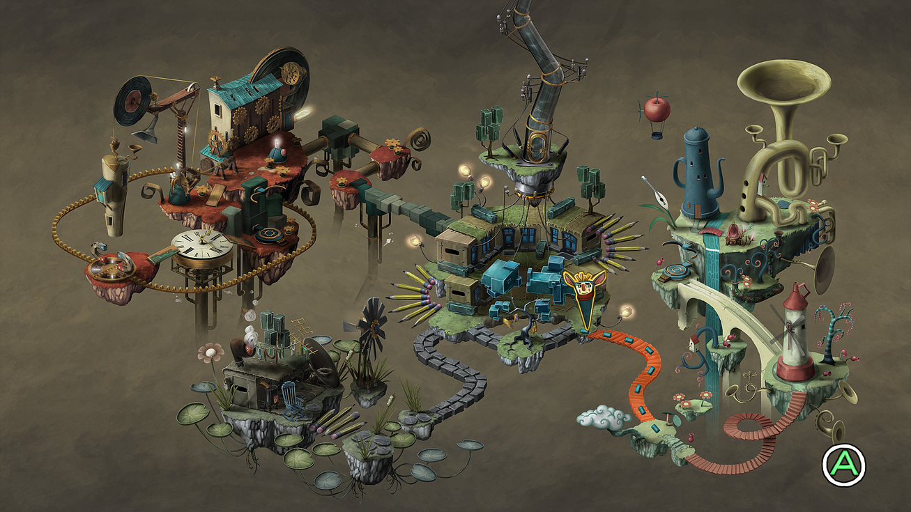 Imagem do jogo Figment, terceiro jogo indie da Bedtime Digital Games. A imagem mostra o mapa do jogo de aventura e puzzle.