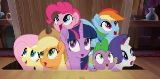 Imagem de My Little Pony, em que sete pôneis saem de um porão.