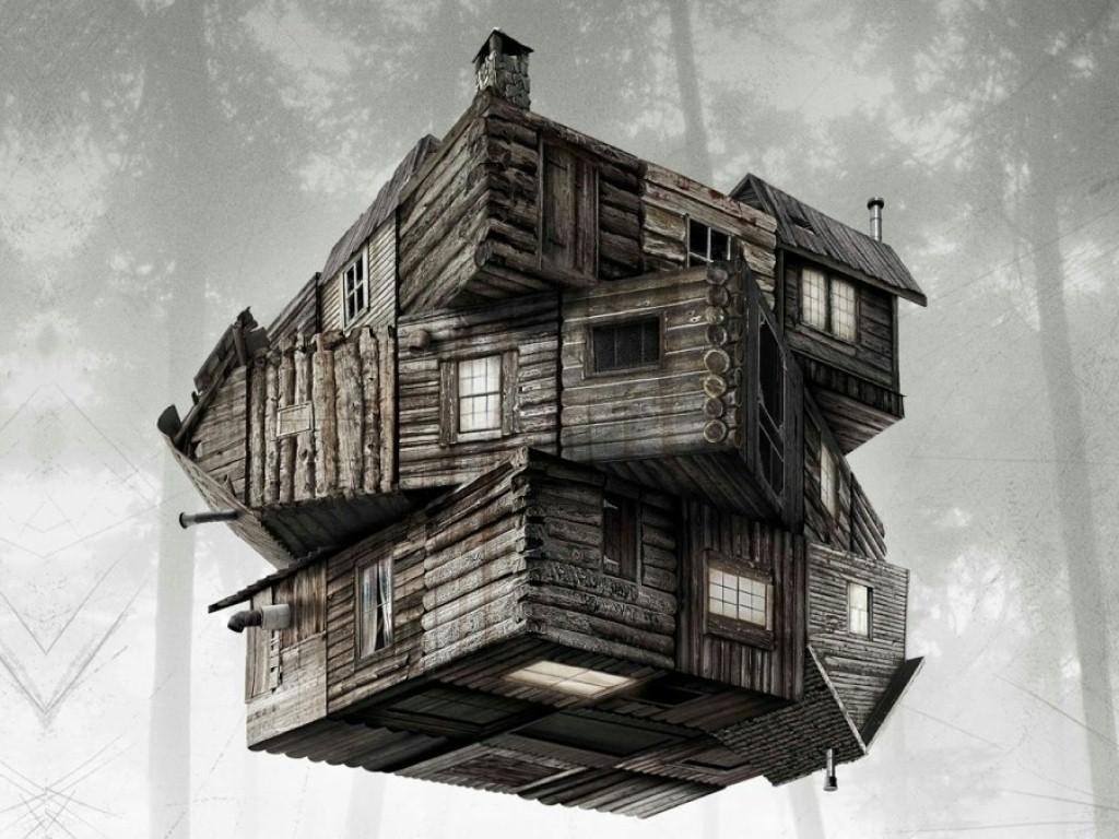 Pôster de O Segredo da Cabana, ou The Cabin in the Woods. A imagem mostra uma cabana de madeira como se fosse um cubo de Rubik.