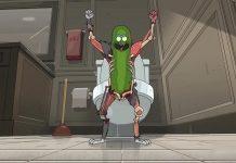 Imagem da série Rick e Morty (Rick and Morty) que mostra o Rick Picles (Pickle Rick).