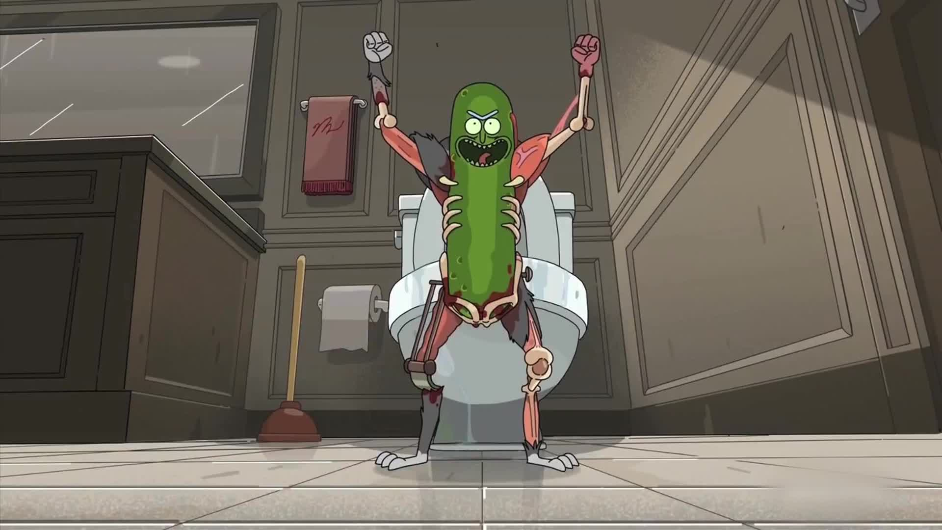 Imagem da série Rick e Morty (Rick and Morty) que mostra o Rick Picles (Pickle Rick).