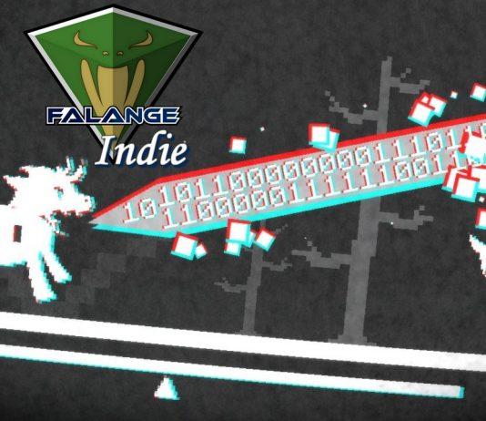 Imagem do jogo indie Pony Island que mostra mostra um pônei que atira um laser pela boca, laser formado por código binário. No topo da imagem está a logo do Falange Indie.