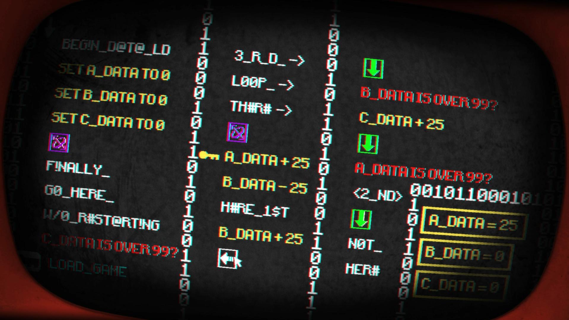 Imagem do jogo Pony Island, tema do Falange Indie 10. A imagem mostra a tela de programação que funciona como um puzzle.