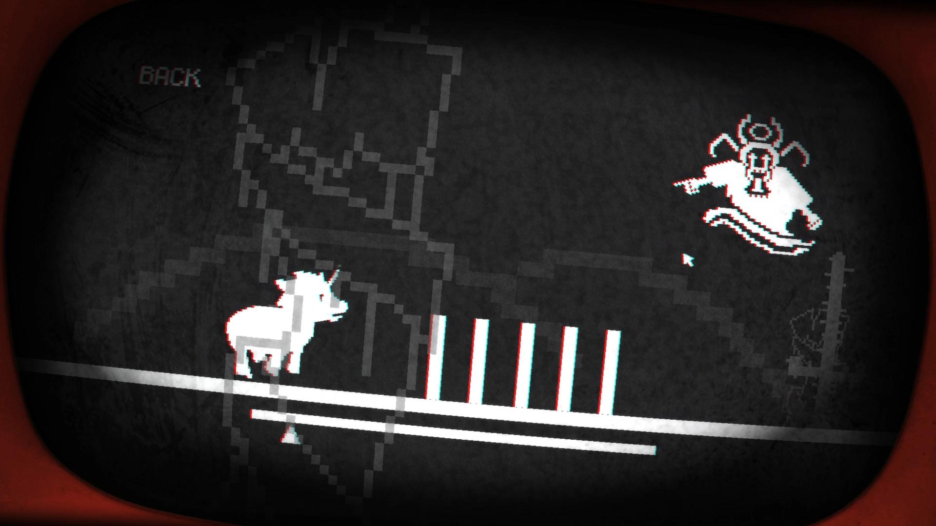 Imagem do jogo Pony Island, tema do Falange Indie 10. A imagem mostra um pônei em um jogo 2D de correr e saltar obstáculos.