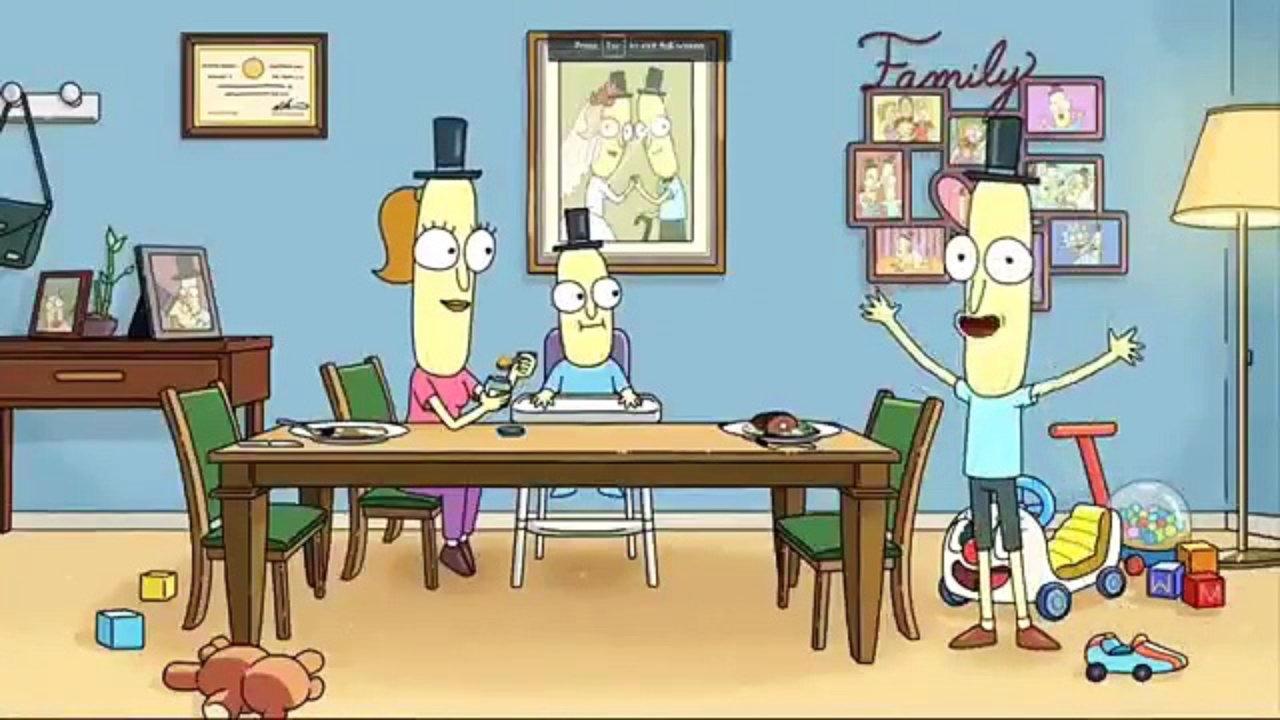 Imagem de Rick e Morty (Rick and Morty) que mostra Mr. Poopybutthole, conhecido como Traseirinho, ao lado de sua esposa e filho em uma mesa de jantar.