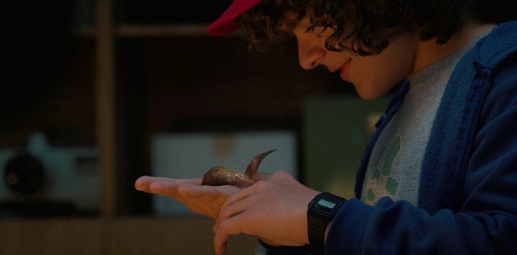 Cena da série da Netflix Stranger Things 2. Na imagem, Dustin segura Dart, um ser gosmento que ele decide adotar.