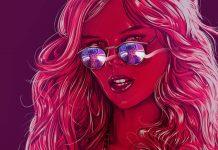 Imagem do filme A Babá, ou The Babysitter, a nova produção original da Netflix. A imagem é toda feita em tons de rosa, e mostra um garoto refletido nos óculos escuros de uma jovem atraente.