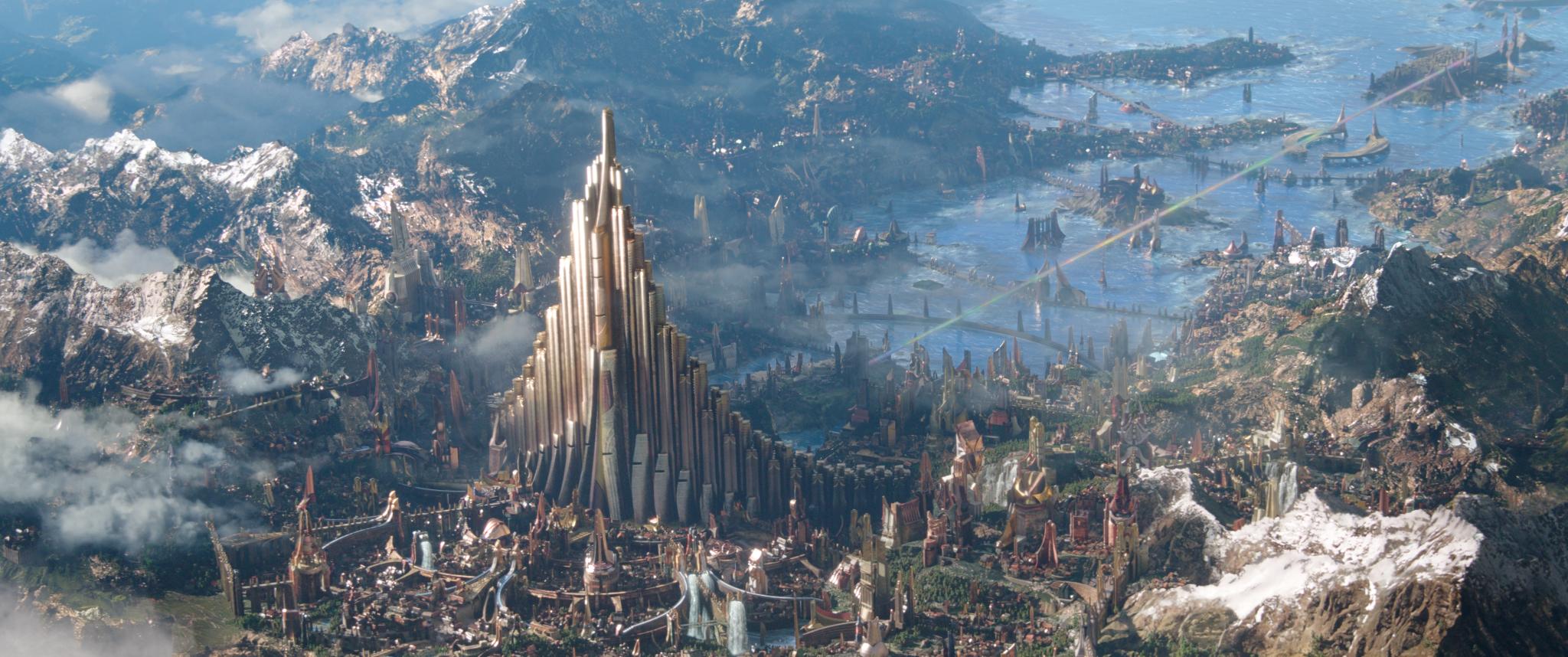 Vista panorâmica do reino de Asgard, no filme Thor: Ragnarok