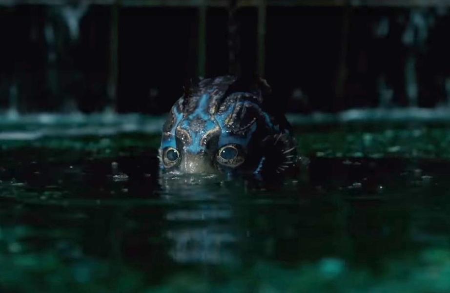 Imagem do filme 'A Forma da Água' ou 'The Shape of Water', de Guillermo Del Toro. A imagem mostra parte do rosto da criatura saindo da água.