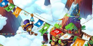 Imagem do jogo indie de plataforma 3D collectathon A Hat in Time. A imagem mostra uma menina deslizando em um tirolesa pendurada por um guarda chuva.