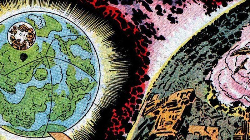 Imagem de Nova Gênesi (New Genesis) e Apokolips, lado a lado. Os planetas são o lar dos Novos Deuses da DC.