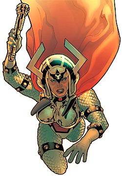 Grande Barda (Big Barda), integrante dos Novos Deuses da DC. Fugiu de Apokolips junto com Scott Free, o Senhor Milagre, com quem se casou.