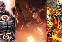 Montagem com as imagem de quadrinhos de Darkseid, do Lobo da Estepe no filme da Liga da Justiça e de Órion nos quadrinhos. Todos Novos Deuses da DC.