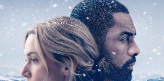 Imagem do cartaz do filme Depois Daquela Montanha, ou The Mountain Between Us. A imagem mostra Kate Winslet olhando para a esquerda e Idris Elba olhando para a direita, em um cenário de montanha.