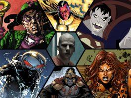 Imagem da Legião do Mal da DC, que mostra Lex Luthor no meio, e ao redor Charada, Sinestro, Bizarro, Cheetah, Gorila Grodd e Arraia Negra.
