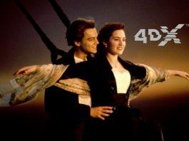 Imagem do filme Titanic. A imagem representa uma cena clássica, em que Jack (Leonardo DiCaprio) segura Rose (Kate Winslet) na proa do navio. A imagem também conta com a logo 4DX, um novo tipo de sala de cinema imersiva.