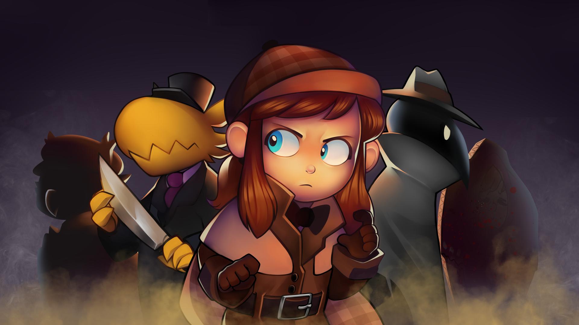 Imagem do jogo indie de plataforma 3D collectathon A Hat in Time. A imagem mostra a protagonista do jogo em uma roupa de detetive, em uma cena que lembra investigação de assassinato.