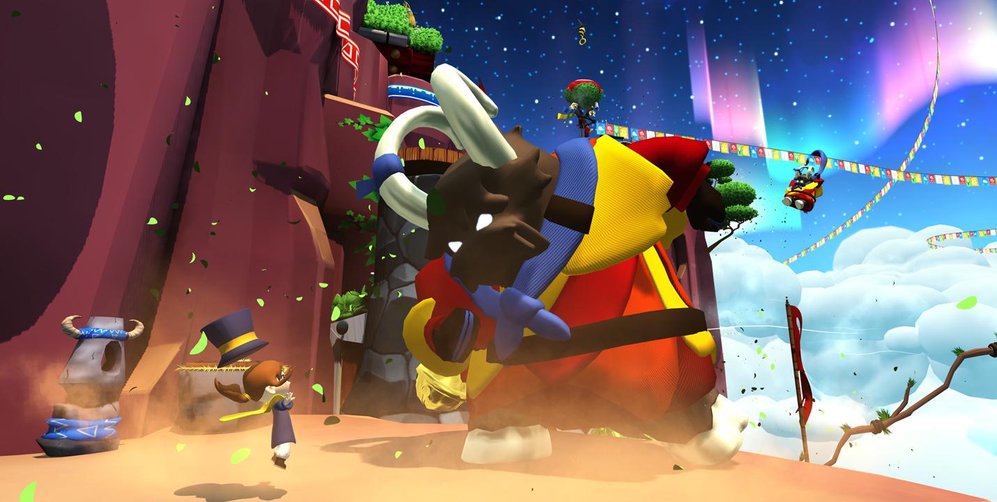 Imagem do jogo indie de plataforma 3D collectathon A Hat in Time. A imagem mostra um bode gigante budista.