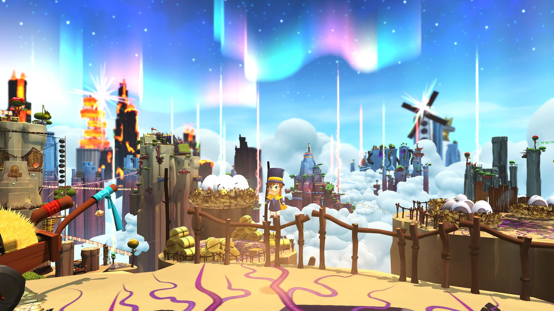 Imagem do jogo indie de plataforma 3D collectathon A Hat in Time. A imagem mostra uma série de montanhas com aparências diferentes.