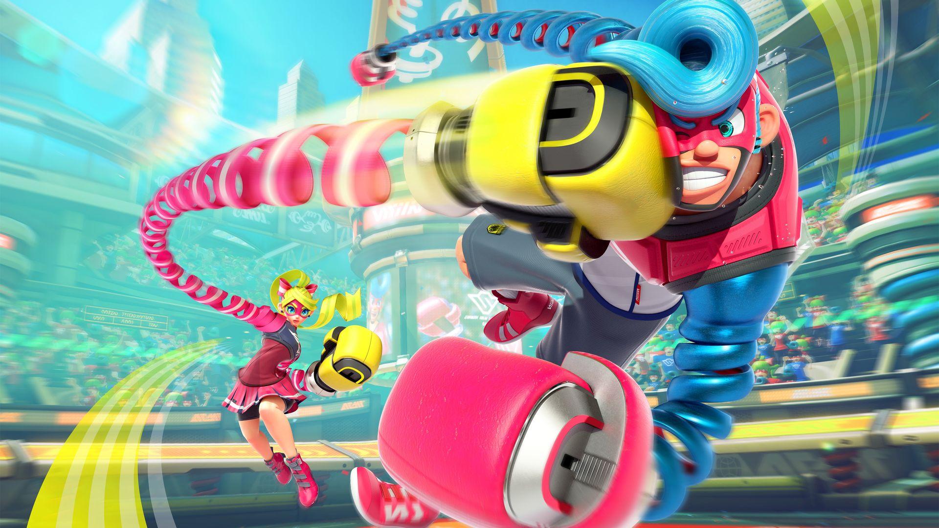 Imagem do jogo ARMS, da Nintendo, que mostra personagens boxeadores com mãos de molas.