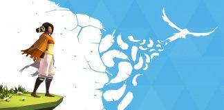 Imagem de divulgação do jogo AER: Memories of Old, produzido pela Forgotten Key e distribuído pela Daedalic. A imagem mostra um jovem parado sobre um precipício, de onde se pode ver nuvens formando a silhueta de uma águia.