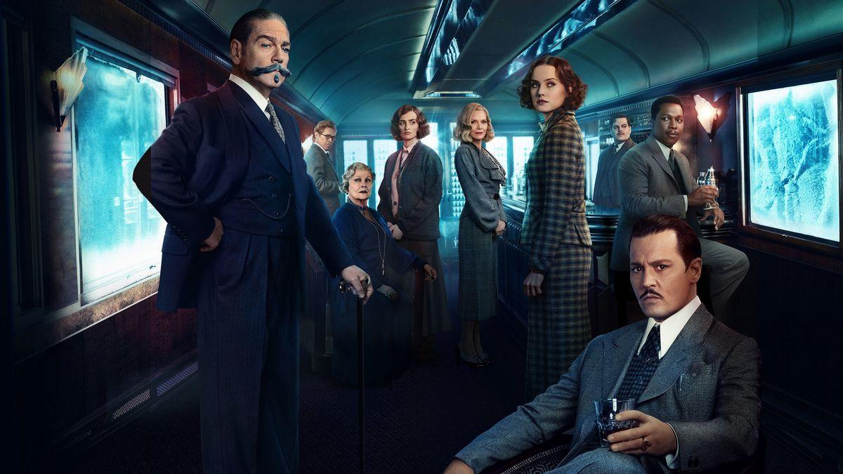Imagem do filme Assassinato no Expresso do Oriente (ou Murder on the Orient Express). Na imagem, dentro do Expresso do Oriente, vê-se o elenco principal do filme.