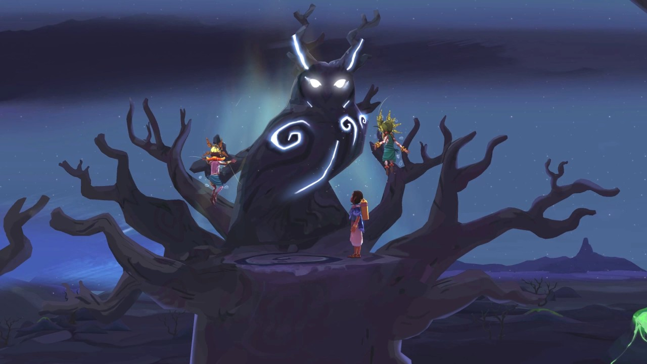 Imagem de Ayo A Rain Tale, jogo indie de plataforma produzido pela Inkline para divulgar o problema da seca na África Subsariana. A imagem mostra uma menina recebendo uma habilidade de um espírito coruja gigante.