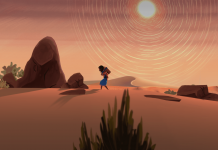 Imagem de Ayo A Rain Tale, jogo indie de plataforma produzido pela Inkline para divulgar o problema da seca na África Subsariana. A imagem mostra uma menina andando no deserto com um galão vazio preso em suas costas.